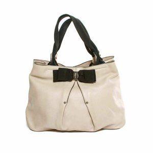 Salvatore Ferragamo cream leather ribbon tote bag